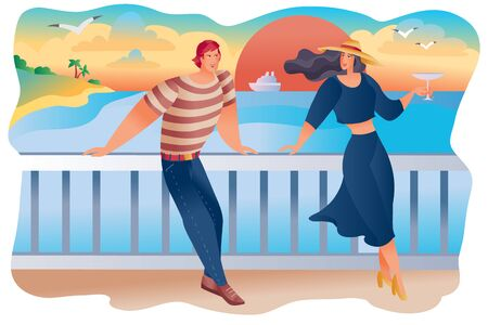 Illustration pour man and woman stand on the embankment against the backdrop of the setting red sun, the ship and the seagulls, they have a date or the first meeting, the woman has a glass of wine in her hands, - image libre de droit