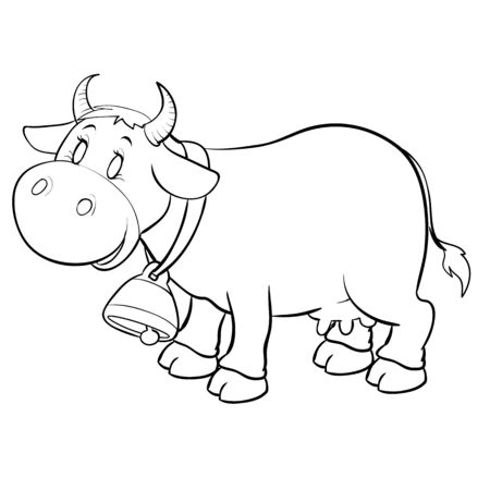 Photo pour cow with a big bell on his neck for coloring, outline drawing, isolated object on a white background, - image libre de droit