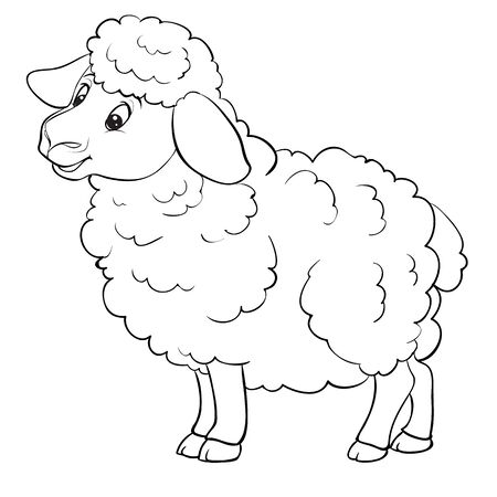 Illustration for cartoon style sheep is drawn in outline, isolated object on a white background, vector illustration, - Royalty Free Image