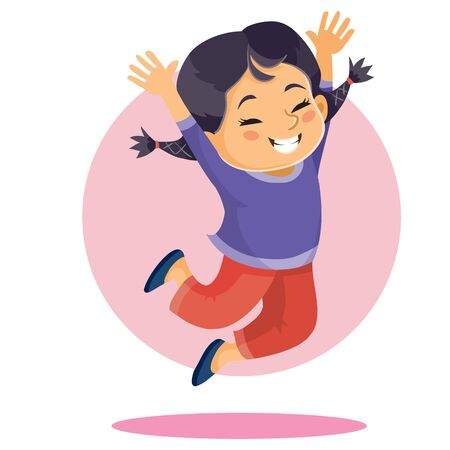 Illustration pour girl of Asian appearance bounces up in delight with arms raised up, isolated object on a white background, vector illustration, eps - image libre de droit