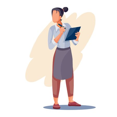 Illustration pour girl the waiter writes the order in his big notebook, isolated object on a white background, vector illustration, - image libre de droit