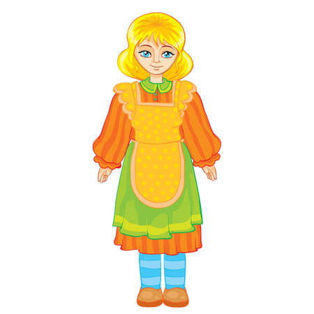 Ilustración de girl in apron and in old clothes cartoon illustration. isolated object on a white background. - Imagen libre de derechos