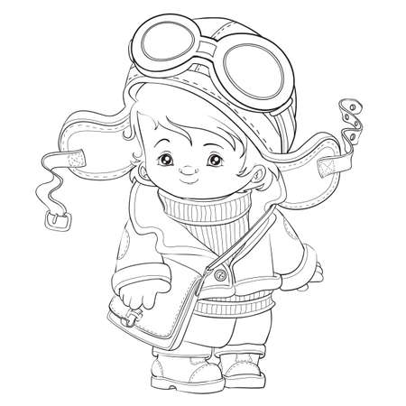 outline of a cute pilot, coloring book, cartoon illustration, isolated object on white background