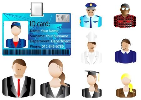 Illustration pour Identification card icon and various avatars - image libre de droit