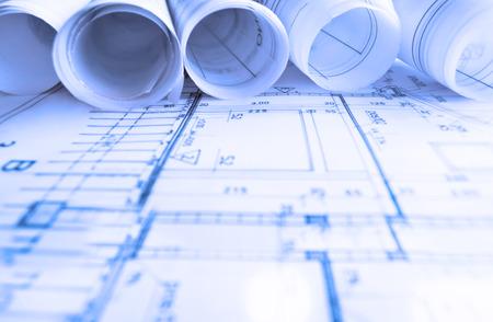 Photo pour Architecture rolls architectural plans project architect blueprints real estate concept - image libre de droit