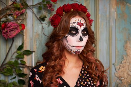 Photo pour Day of dead holiday. Halloween. People in costume - image libre de droit