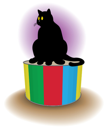 cartoon style black cat and colored drum   illustration