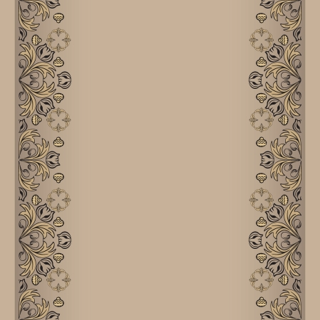 sepia backdrop with floral elemens vector illustration