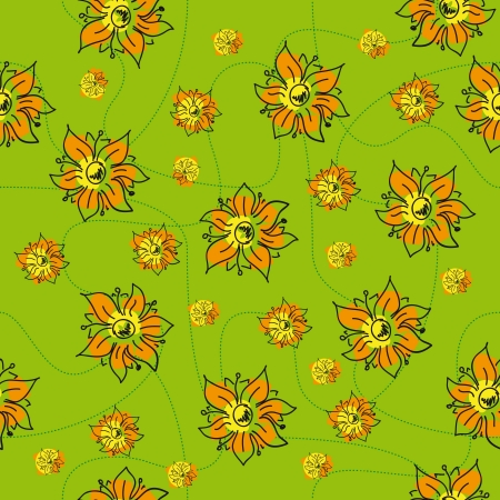 traditional handmade folk seamless floral background with orange flowers for textile design,  and high quality print