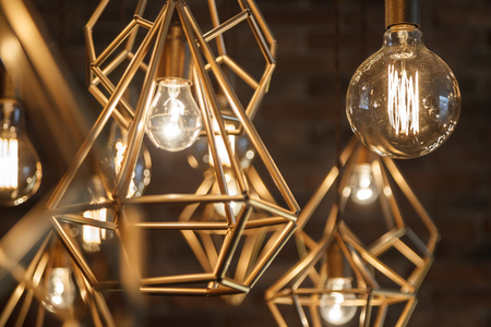 Incandescent retro lamps in a modern style. Edison lamp.