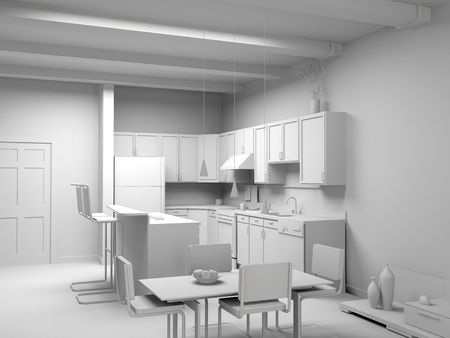 blank modern kitchen interior design (computer generated image 3D)