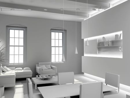 blank modern  interior design (computer generated image 3D)