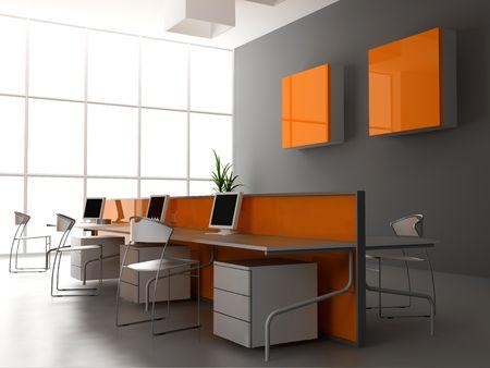 Photo pour the modern office interior design (3d render) - image libre de droit