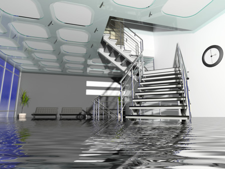 the modern  office hall interior with stairs in Insurance case
