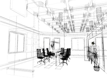 the modern office interior design sketch (3d render)