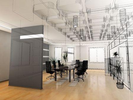 Photo pour the modern office interior design sketch (3d render) - image libre de droit