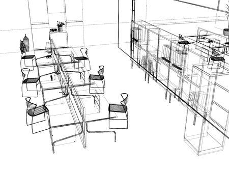 Foto de the modern office interior design sketch (3d render) - Imagen libre de derechos