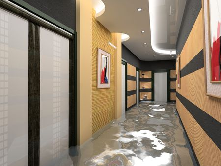 the flooding corridor interior (3D image)の写真素材