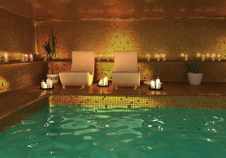 spa modern interior (3D rendering)の写真素材