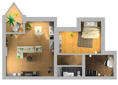Photo for modern interior on the top view (private apartment 3d rendering)    - Royalty Free Image