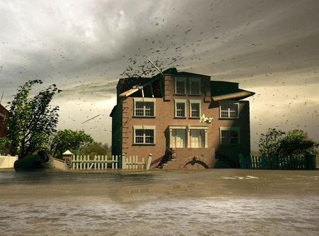 the flooding  (3D render)
