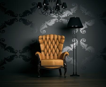 Photo pour 3D interior scene with classic armchair and lamp   - image libre de droit