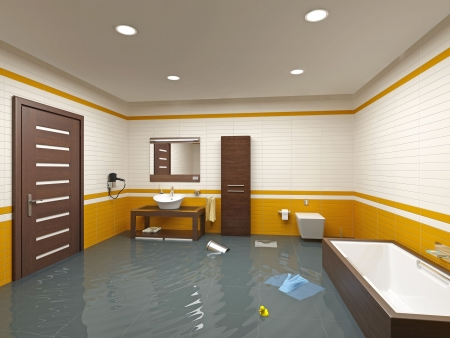 Photo pour flooding bathroom interior ( 3D rendering ) - image libre de droit