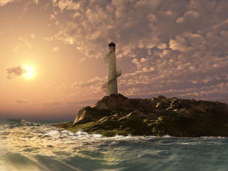 sunset lighthouse landscape ( 3d rendering)
