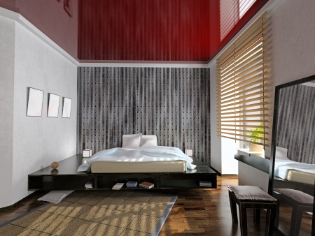 modern bedroom interior (3D rendering)