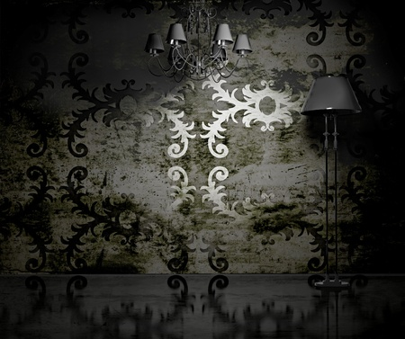 vintage wallpaper interior (3D rendering)