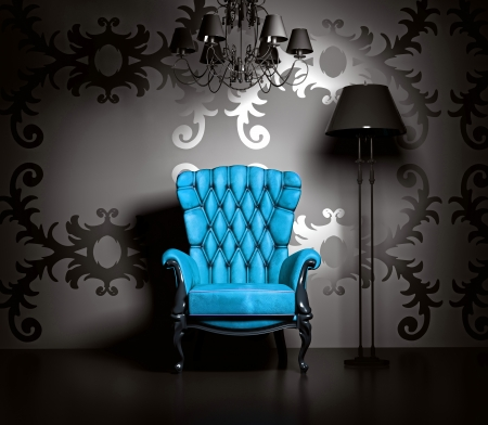 Photo pour 3D interior scene with blue classic armchair and lamp. - image libre de droit