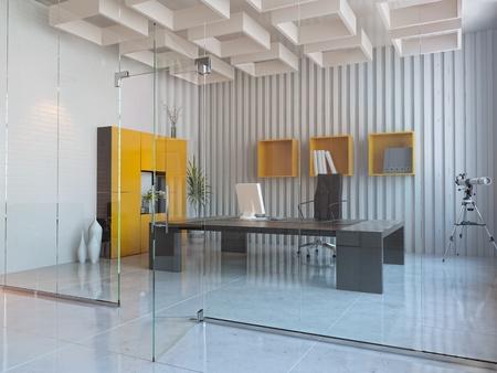 modern interior design of office room (3D render)