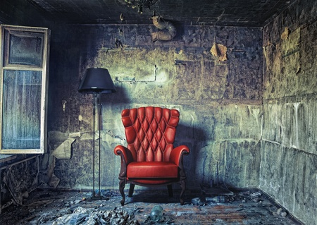 luxury armchair in grunge interior  Photo compilation  Photo and hand-drawing elements combined