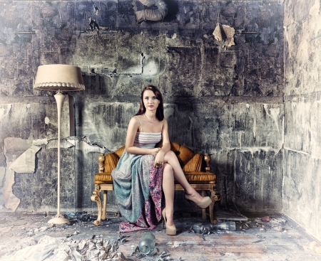 young beautiful women, sitting in vintage sofa   Photo and hand-drawing elements combined