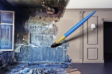 Photo pour brush, drawing beautiful interior over dirty image. concept - image libre de droit