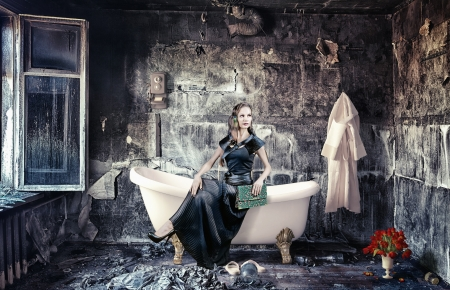vintage woman and bathtub in grunge interior  photo compilation