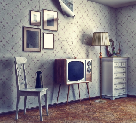 Photo pour obsolete retro interior  photo and cg elements combinated, texture and grain add  - image libre de droit