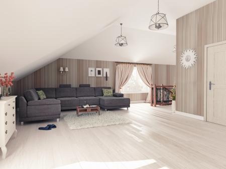 Interior hall attic  3D rendering