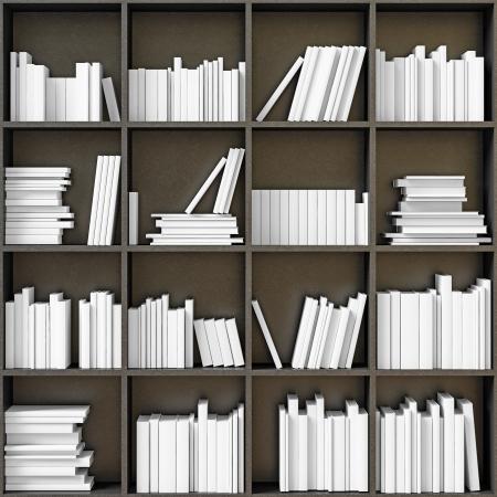 black bookshelves with white books  illustrated concept