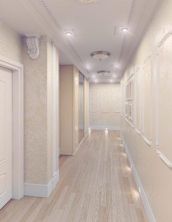 modern interior of home corridor  3D rendering