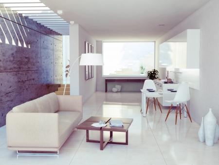 modern interior design ( apartment 3d rendering)