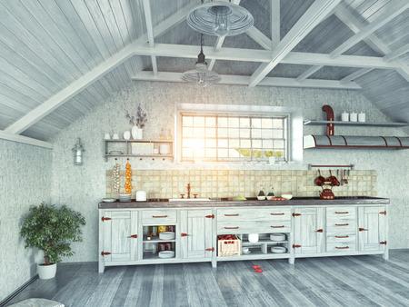 modern kitchen interior with  island in the attic (3d design concept)