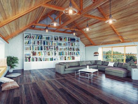 Foto de beautiful modern attic interior 3d design concept. Realistic DOF effect - Imagen libre de derechos