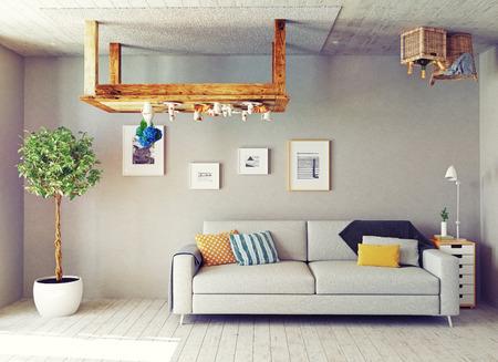 Photo pour strange living room interior. 3d design concept - image libre de droit