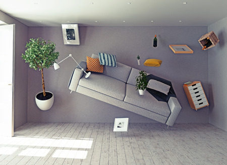 Photo pour zero-gravity interior. 3d creative concept - image libre de droit