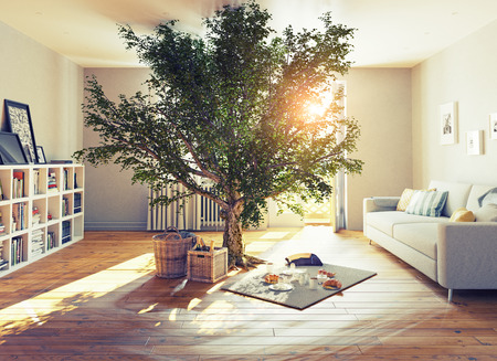 Photo pour picnic in a home interior. 3D concept illustration - image libre de droit