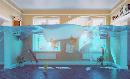 Photo pour an underwater view in the flooding interior. 3d concept - image libre de droit