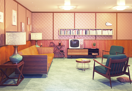 Foto de beautiful retro interior at the evening. 3d rendering - Imagen libre de derechos