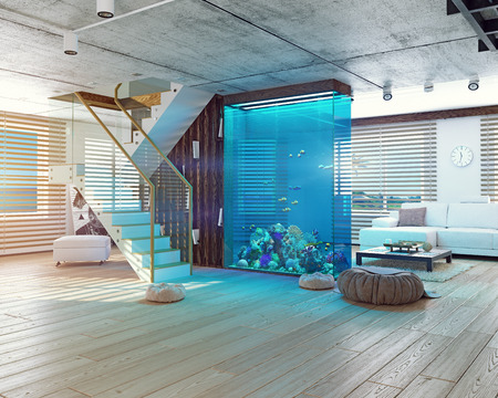 Photo for The modern loft interior with aquarium. 3d concept - Royalty Free Image