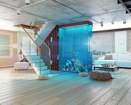 Photo pour The modern loft interior with aquarium. 3d concept - image libre de droit